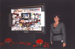 Sheri Leonard with Fisher Centennial Artwork