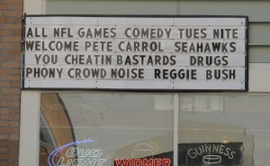We saw this sports bar readerboard while riding a cable car in San Francisco. It perfectly illustrates the classless Niner-fan mentality.