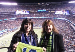 My sister and I ready to cheer for the Seahawks in MetLife Stadium at SBXLVIII.